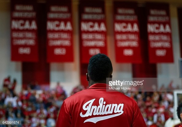 BLOOMINGTON, IN - FEBRUARY 12: Thomas Bryant #31 of the Indiana Hoosiers is seen before the game against the Michigan Wolverines at Assembly Hall on February 12, 2017 in Bloomington, Indiana. (Photo by Michael Hickey/Getty Images)