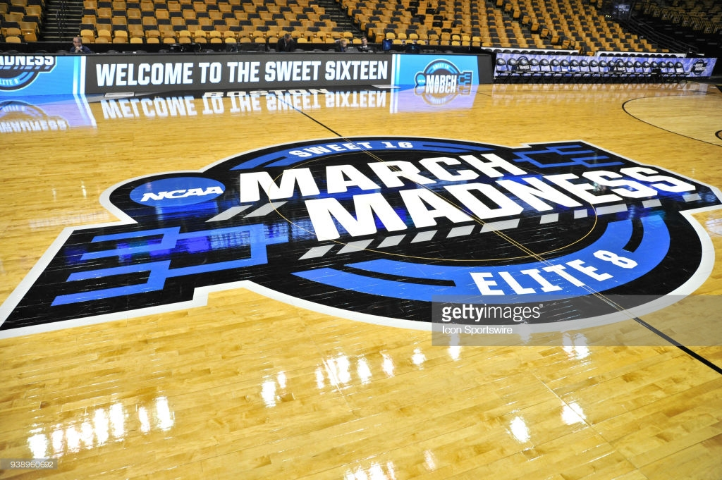 NCAA BASKETBALL: MAR 23 Div I Men's Championship - Sweet Sixteen - Villanova v West Virginia BOSTON, MA - MARCH 23: The March Madness logo at center court of the TD Garden before the fans arrive. During the Villanova Wildcats game against West Virginia Mountaineers at TD Garden on March 23, 2018 in Boston, MA.(Photo by Michael Tureski/Icon Sportswire via Getty Images)